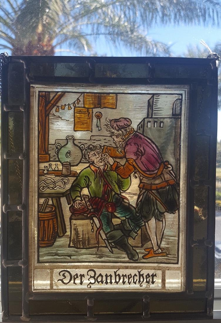 Antique Stained Glass Swiss/German Trade Sign