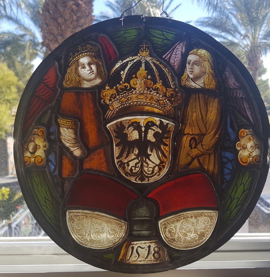 German Renaissance Antique Stained Glass Armorial