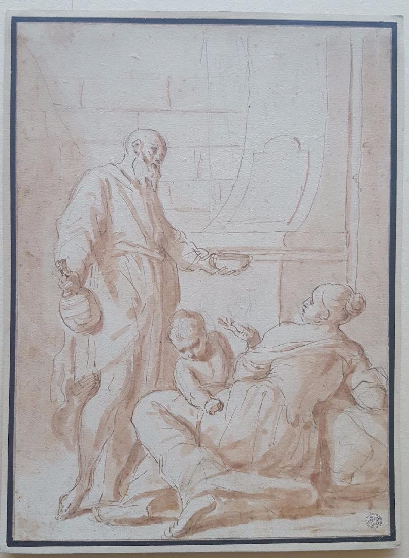 Italian Old Master Drawing Anton Domenico Gabbiani