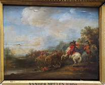 Flemish Old Master Landscape painting with Horses and