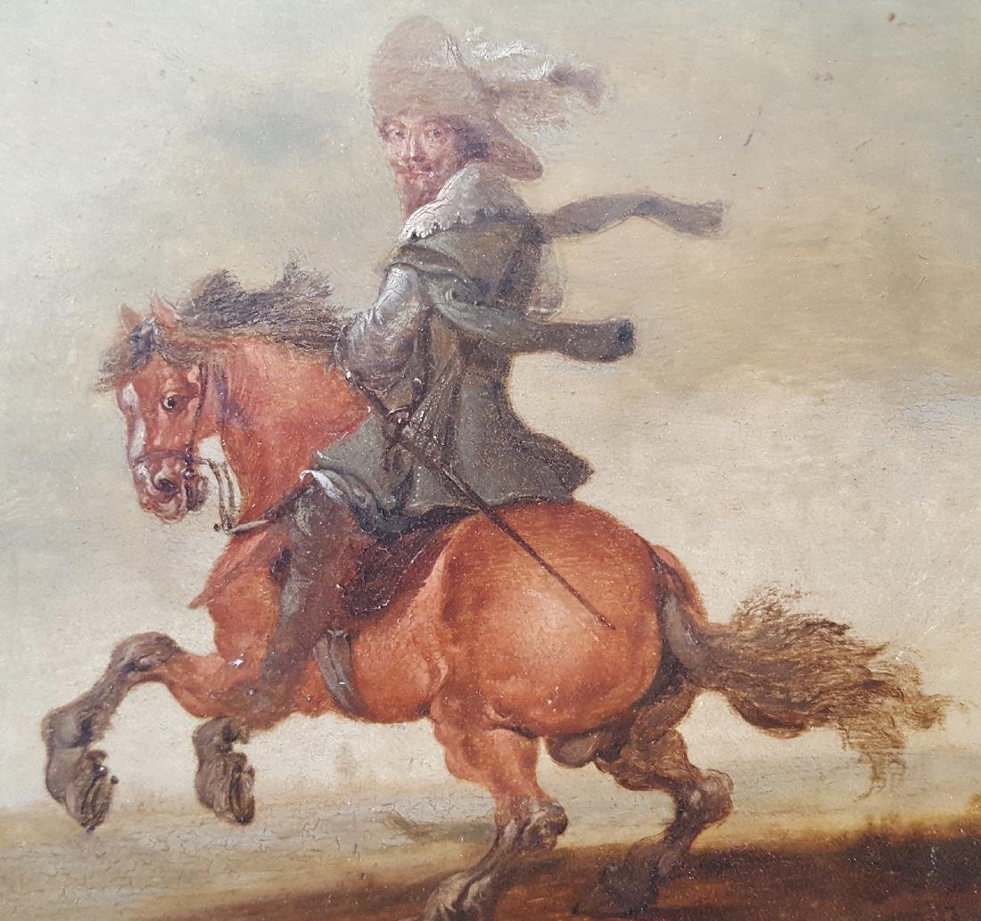 Old Master Dutch Painting Cavalier & Horse - 2