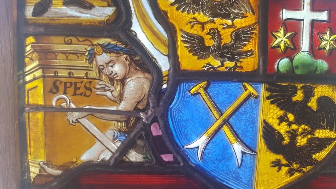 Renaissance Era Stained Glass  Heraldic Crest and - 4