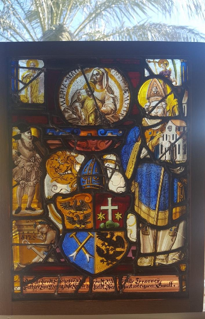 Renaissance Era Stained Glass  Heraldic Crest and - 6