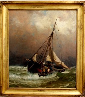 "1: Harry Chase Oil on Canvas ""On the Fishing Banks"""