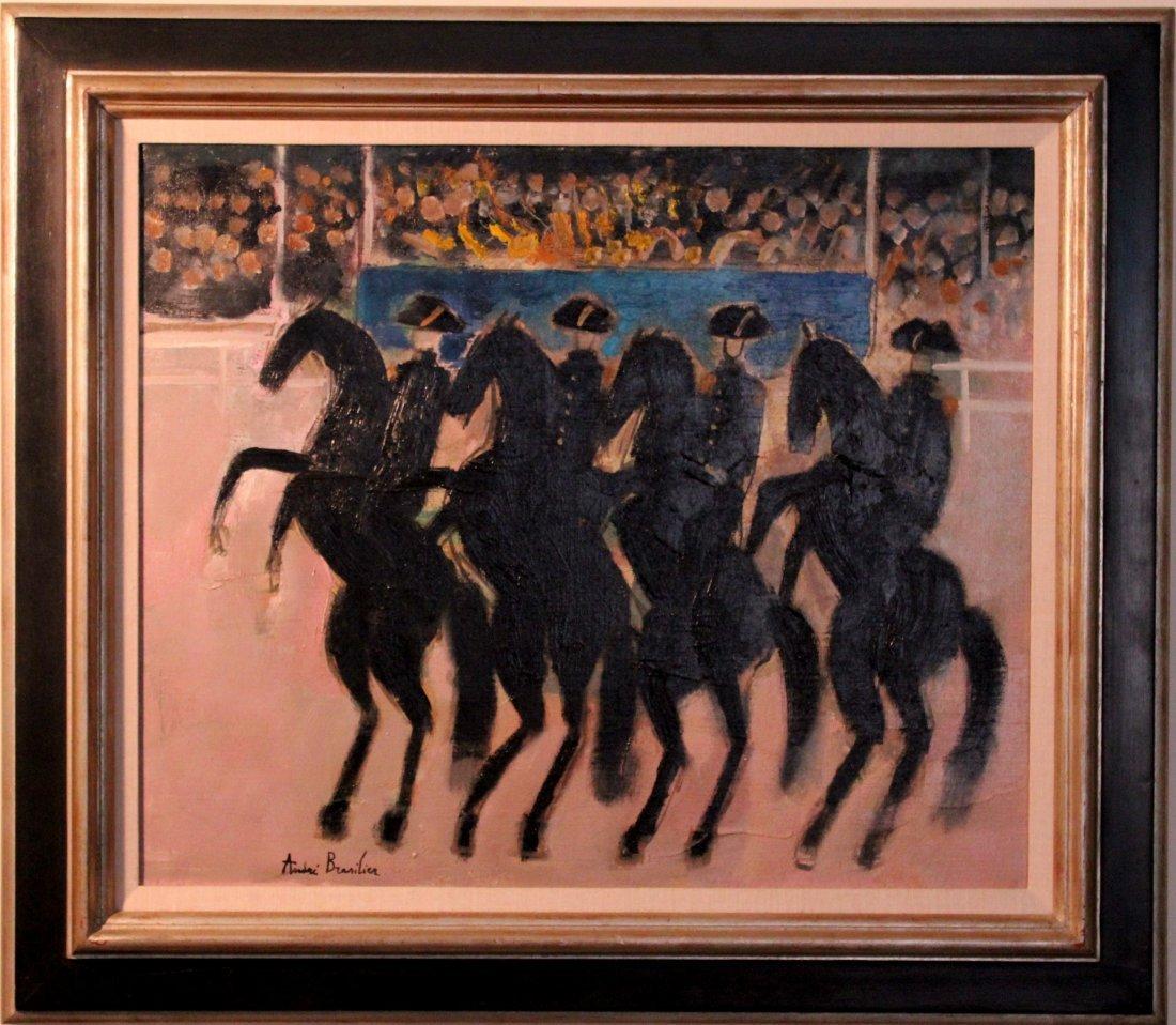 """Andre Brasilier oil on canvas """"Cadre Noir"""""""