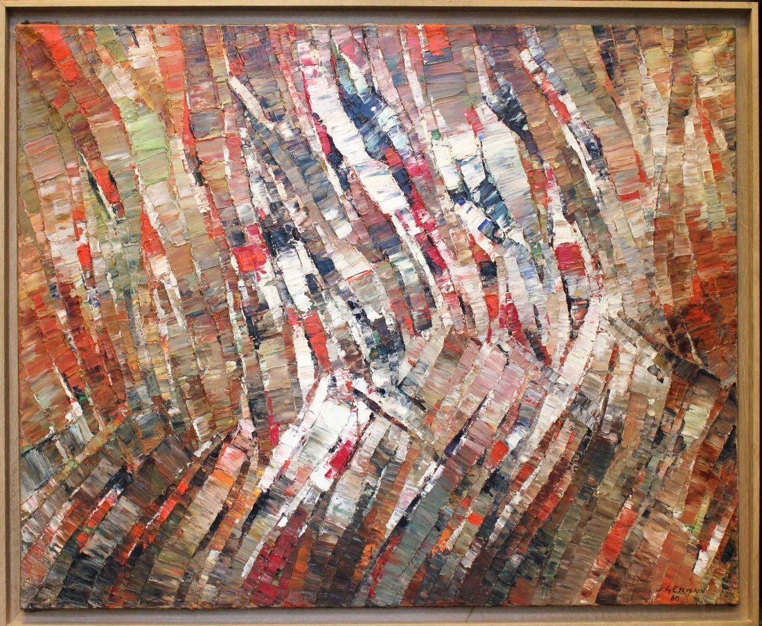 Jacques Germain abstrait composition 1960 oil painting
