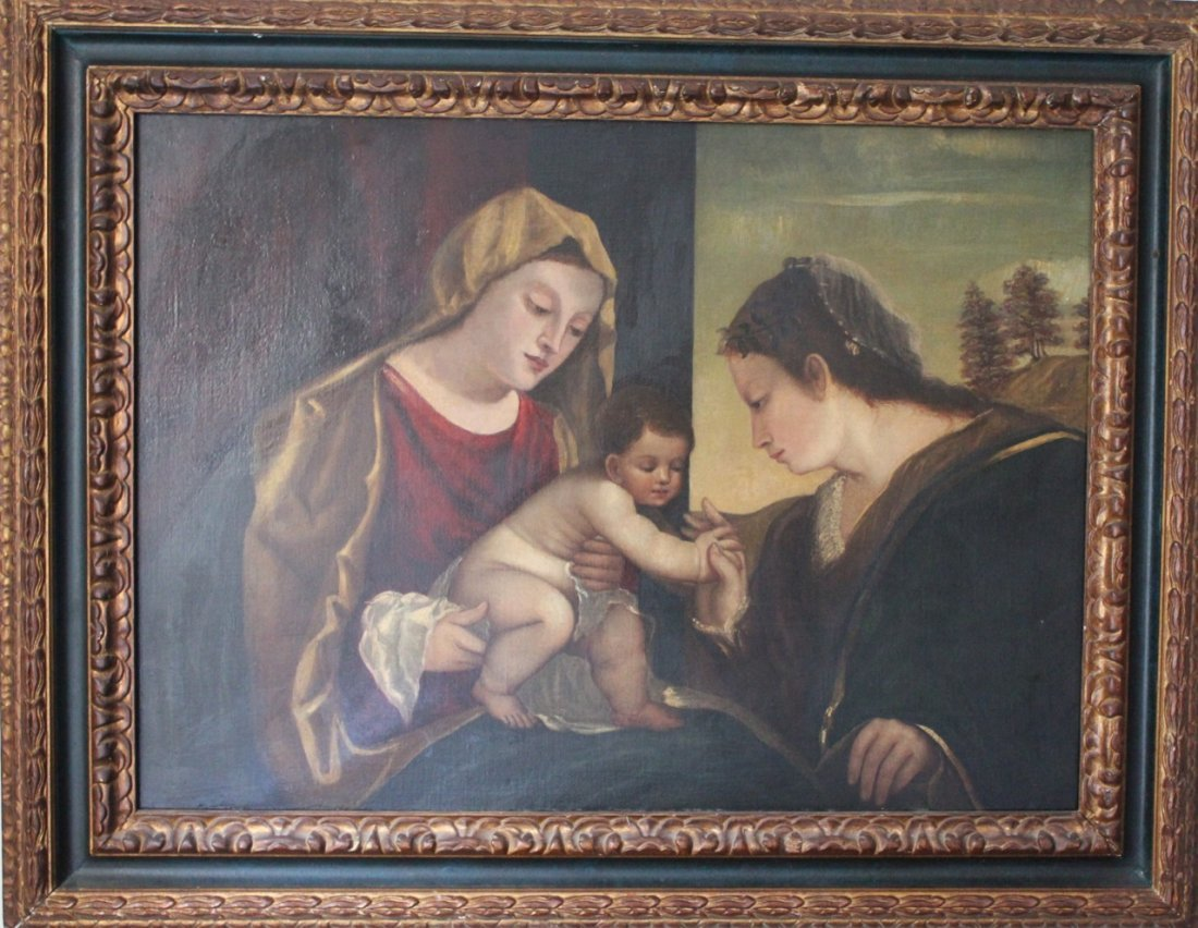 Italian old master painting madonna and child 17th