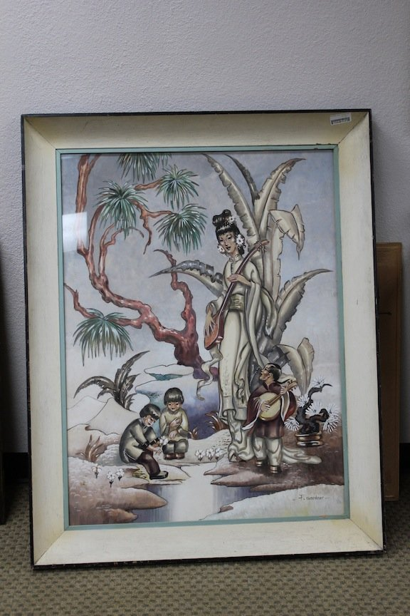 Asian Hollywood Regency James Mont LARGE painting