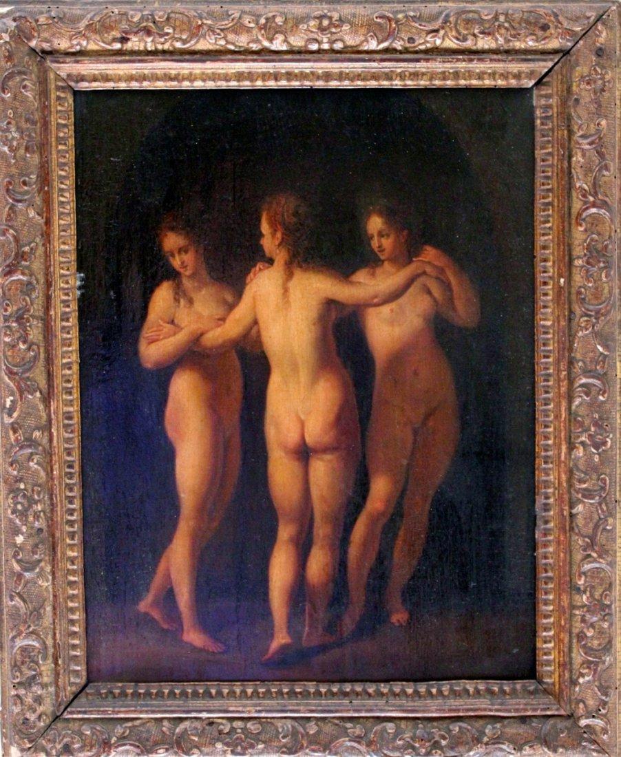 Old Master Geman Baroque Three Graces