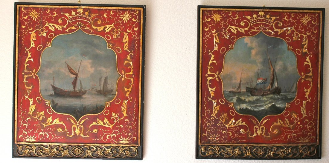 old master Dutch East India Company PAIR of paintings