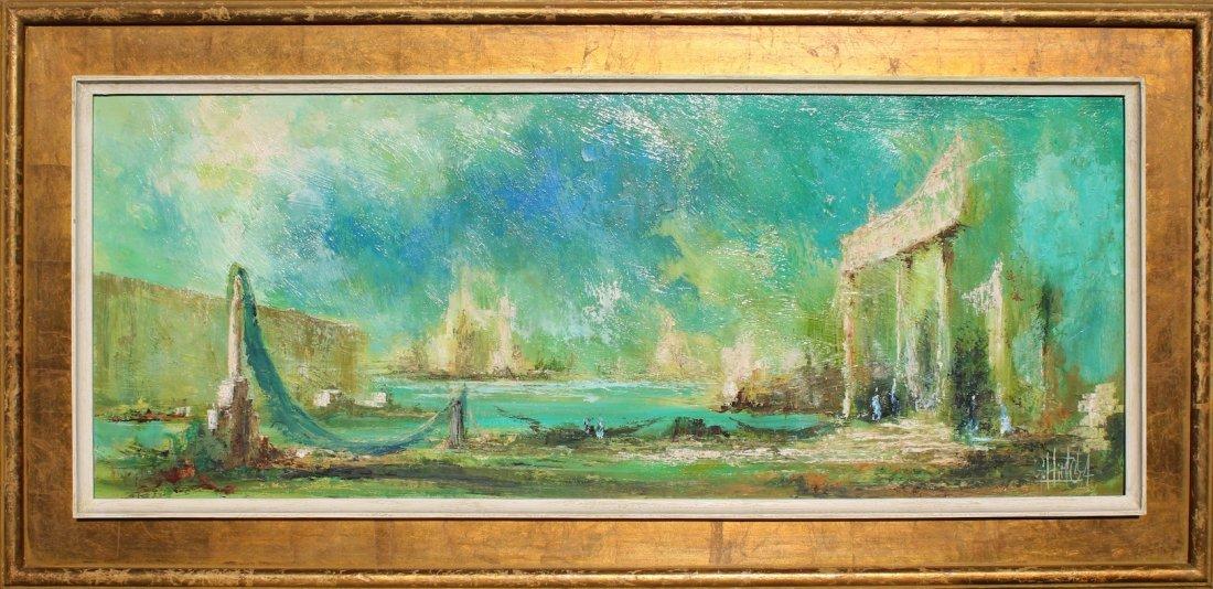 Modernist Painting Hollywood Regency era LARGE