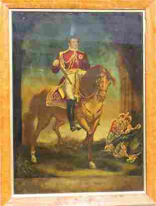 Eglomise Reverse Painted Glass King George IV