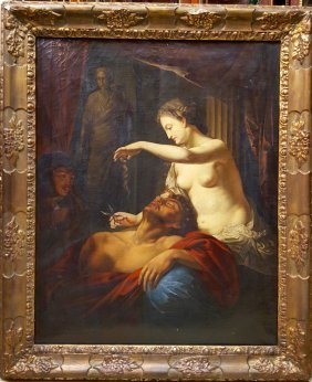 French Old Master Biblical Samson And Delilah
