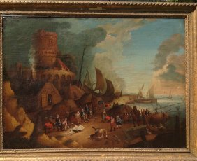 Old Master Dutch 17th Century Fishing Village
