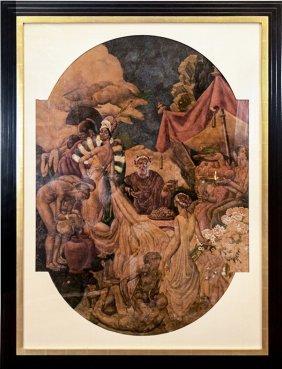 Eugene Savage Mural Study For Elks Lodge