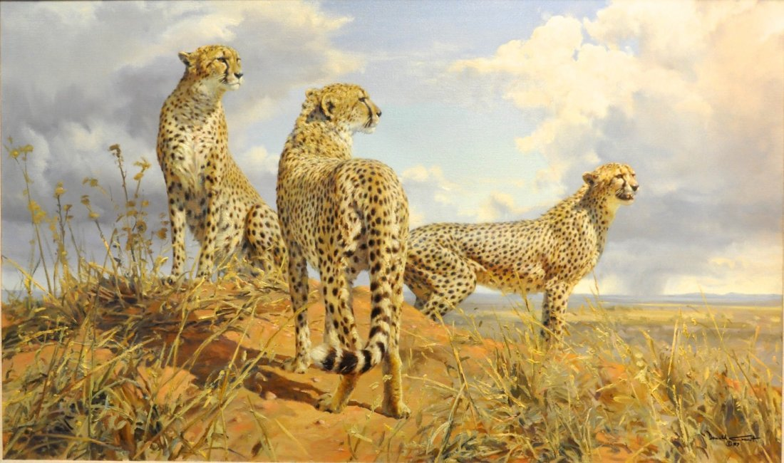 Donald Grant wildlife oil Painting Cheetah Trio