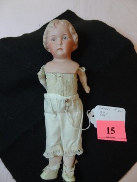 15: 10'' BISQUE HEAD GERMANY DOLL CLOTH BODY, COMPOSITI
