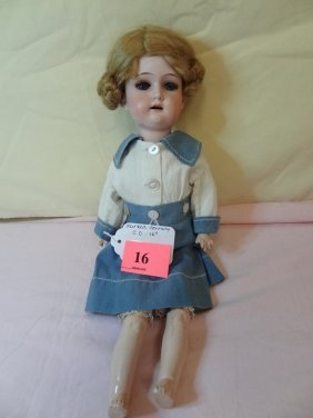 16'' BISQUE HEAD DOLL, SLEEPY BLUE GLASS EYES, COMP