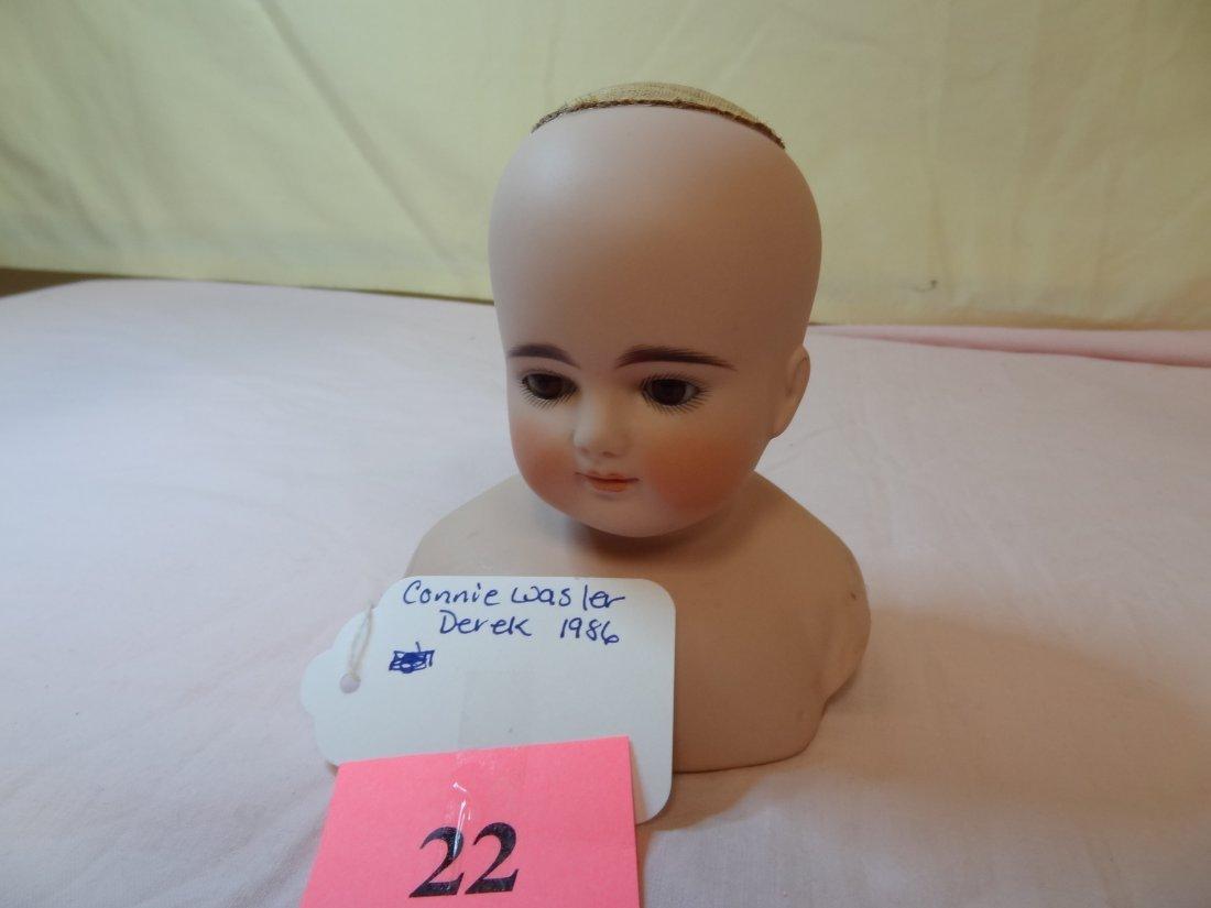 22: CONNIE WASLER DEREK BISQUE DOLL HEAD WITH PAINTED F