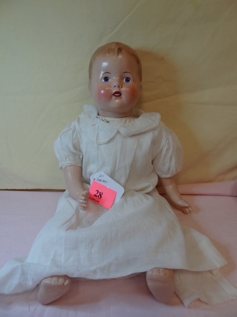 28: 21'' COMPOSITION HEAD, HANDS AND FEET DOLL WITH CLO