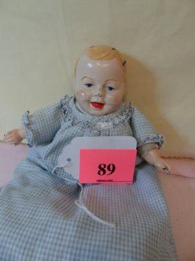 10'' CLOTH BOY DOLL WITH MOLDED HEAD AND HANDS. WAS