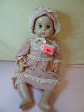100: 20'' BABY DOLL. COMPOSITION MOLDED HEAD, BLUE SLEE