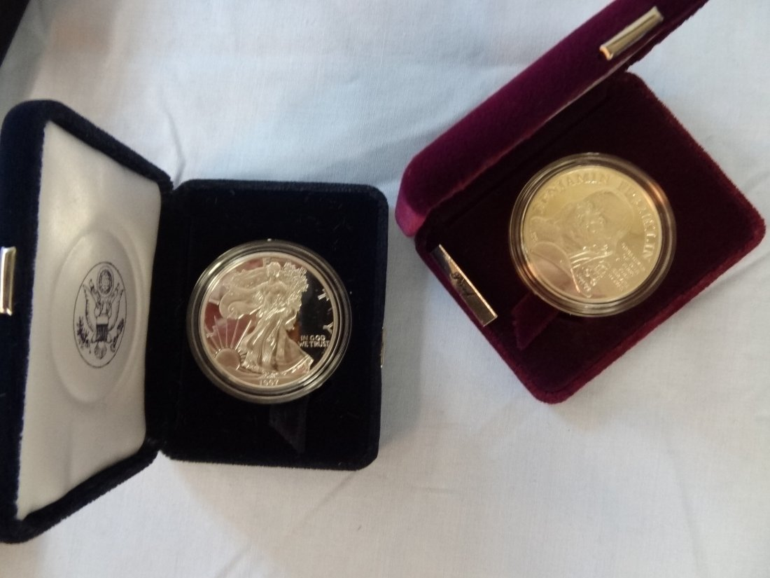 BEN FRANKLIN FIREFIGTHERS SILVER MEDAL AND AMERICAN EAG