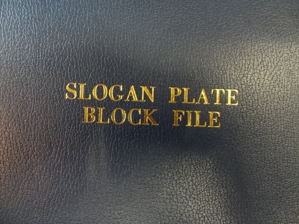 SLOGAN PLATE BLOCK FILE COLLECTION OF U.S. POSTAL SERVI