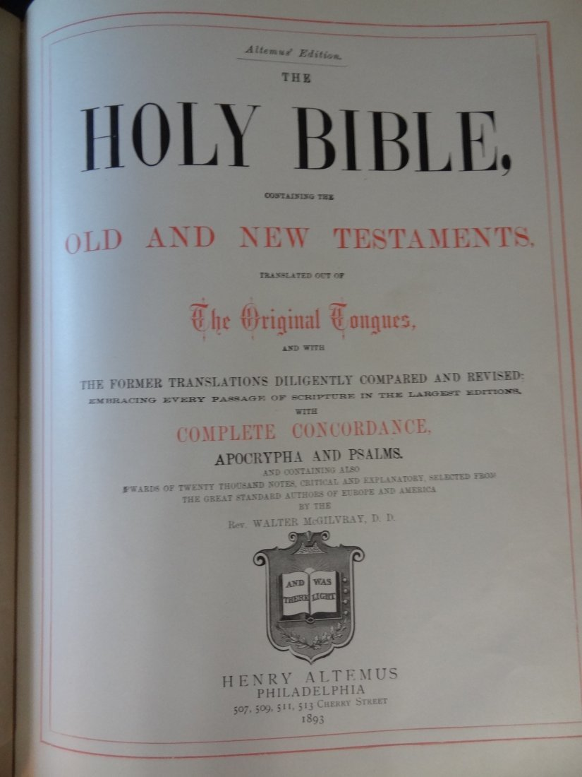 LEATHER BOUND HOLY BIBLE, OXFORD EDITION, 1893 OLD AND