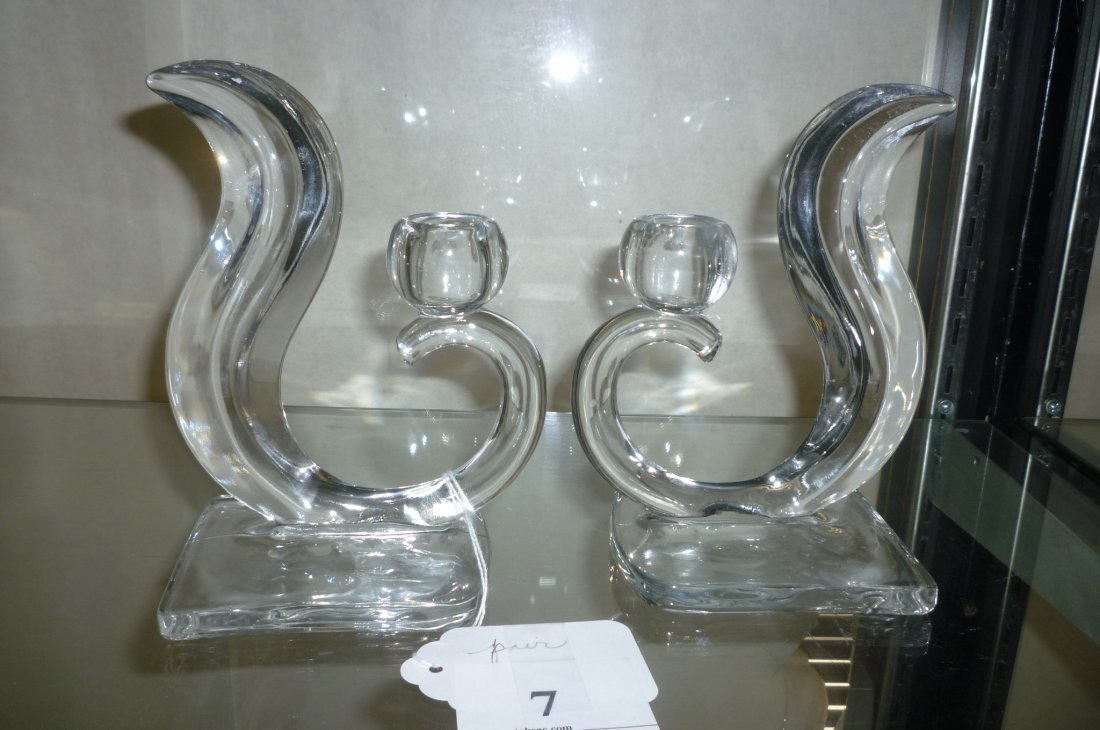 CANDLESTICKS PAIR CLEAR PRESSED GLASS