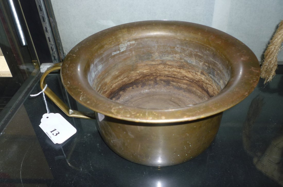 COPPER CHAMBER POT MARKED ''PROPERTY OF PULLMAN SILVER