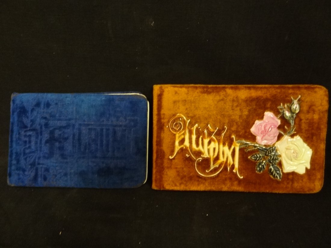 VICTORIAN AUTOGRAPH BOOKS.  VELVET COVERED, GOLD ONE