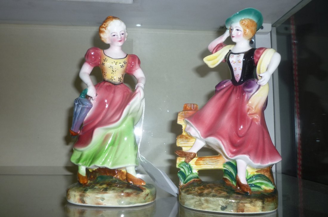 LADY FIGURINES WITH PINK DRESSES, HAND PAINTED, JAPAN