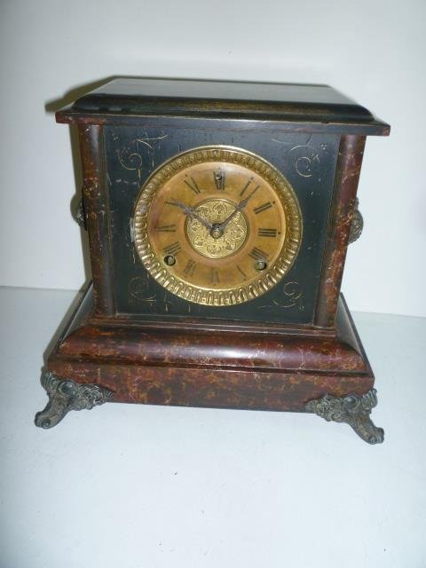 SESSIONS MANTLE CLOCK: HALF HOUR STRIKE, MARBLIZED CASE