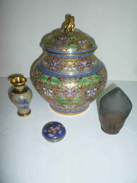 CLOISONNE'S ASSORTED PIECES: LIDDED GINGER JAR APPROX.