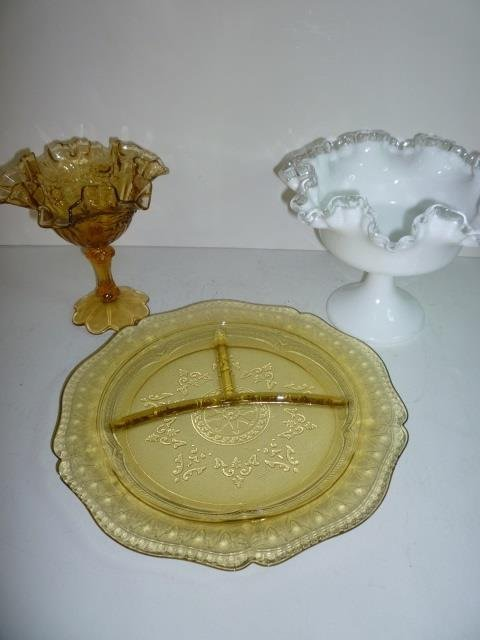 DEPRESSION GLASS SERVING PIECES: AMBER GLASS COMPOTE, A
