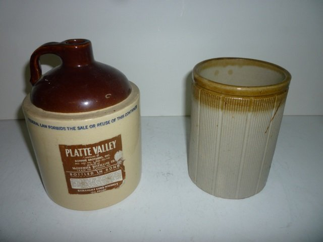 PLATTE VALLEY WHISKEY JUG, POTTERY CANISTER, WHISKEY JU