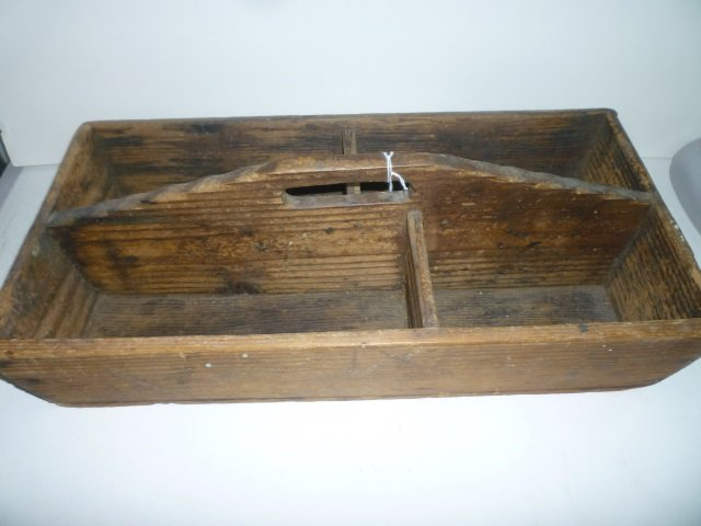 WOODEN DIVIDED CARRIER OR TOOL BOX: MARKED ''1961'' WIT