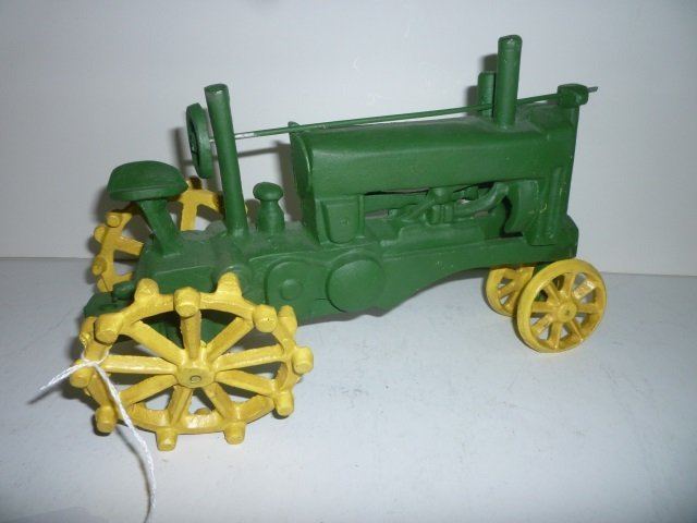 CAST IRON TRACTOR GREEN AND YELLOW REPRODUCTION