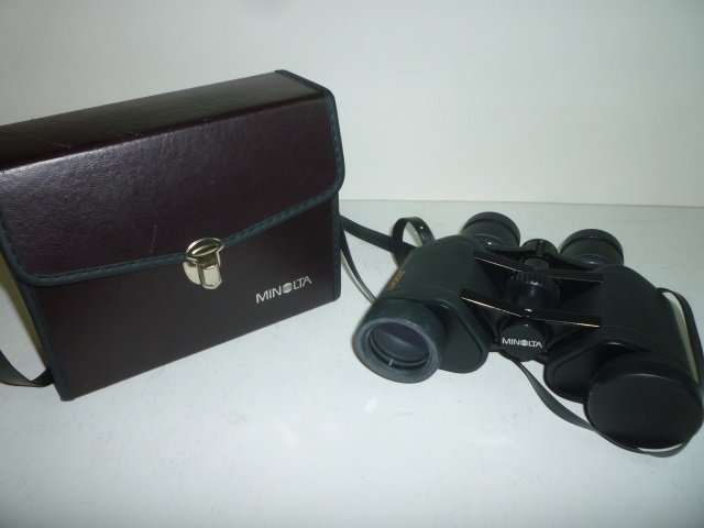 MINOLTA BINOCULARS: 7-15 X 35, WITH CASE.  LENS CAPS IN