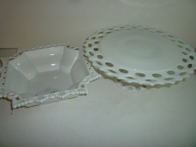 MILK GLASS CAKE PLATTER AND ORNATE SERVING BOWL