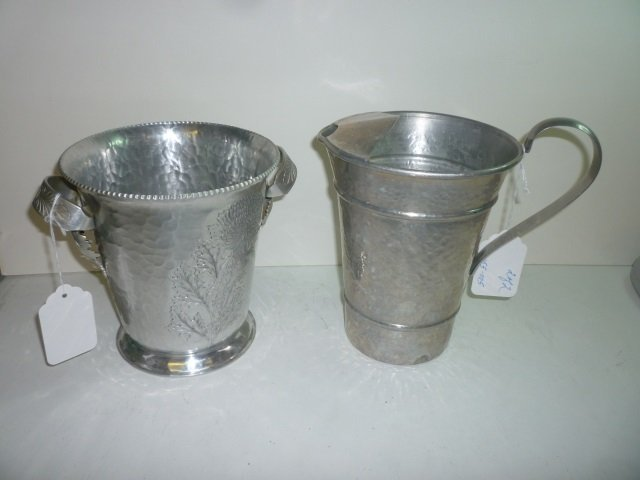 ICE BUCKET AND WATER PITCHER: ICE BUCKET IS FORGED ALUM