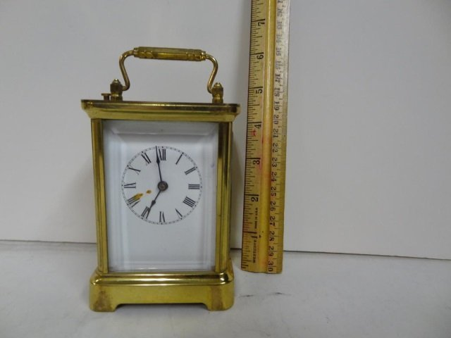 CARRIAGE CLOCK: BRASS CASED, BEVELED GLASS SIDES,