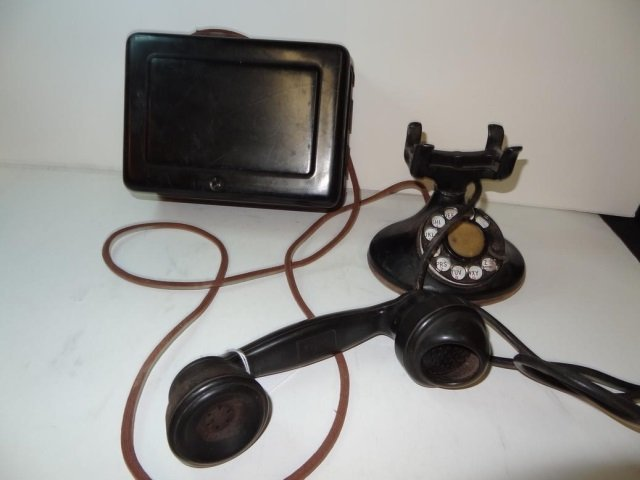 VINTAGE ROTARY PHONE WITH BELL BOX