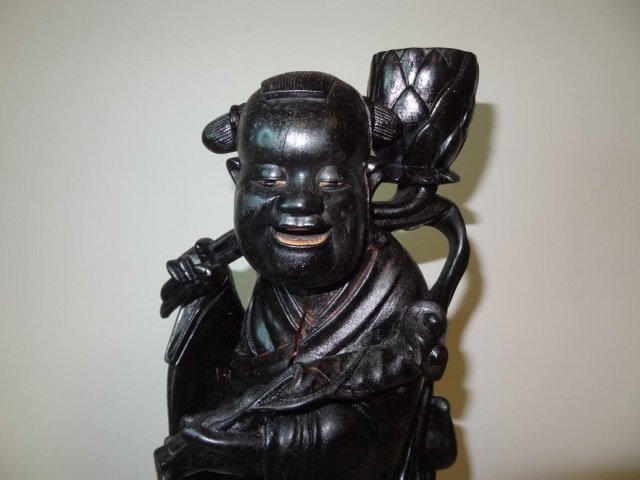 """ASIAN STATUE: WOODEN, PAINTED EBONY, 17"""" TALL, COULD"""