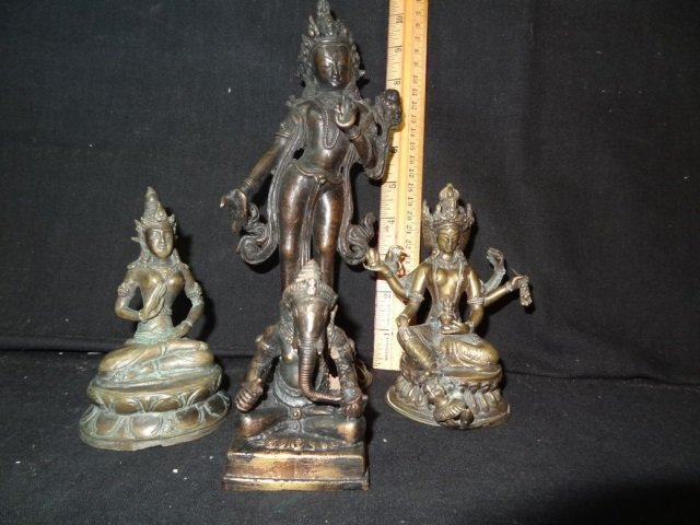 ASIAN STYLE METAL FIGURINES: LOT OF 4