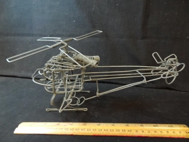 NOVELTY ITEM: HAND CRAFTED HELICOPTER, MADE OF WIRE