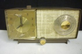 RETRO ALARM CLOCK AND RADIO: SHIMMERY WOVEN FRONT WITH