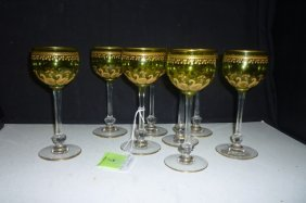 BOHEMIAN WINE STEMS: GREEN GLASS WITH GOLD TONED DETAIL
