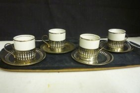 CUPS AND SAUCERS: SET OF 4 BY VERACRUZ PORCELANA